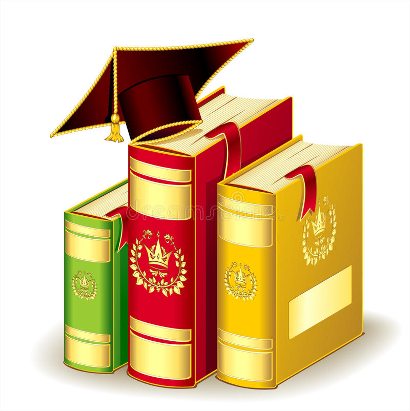 Livros com tampão da graduação ilustração do vetor