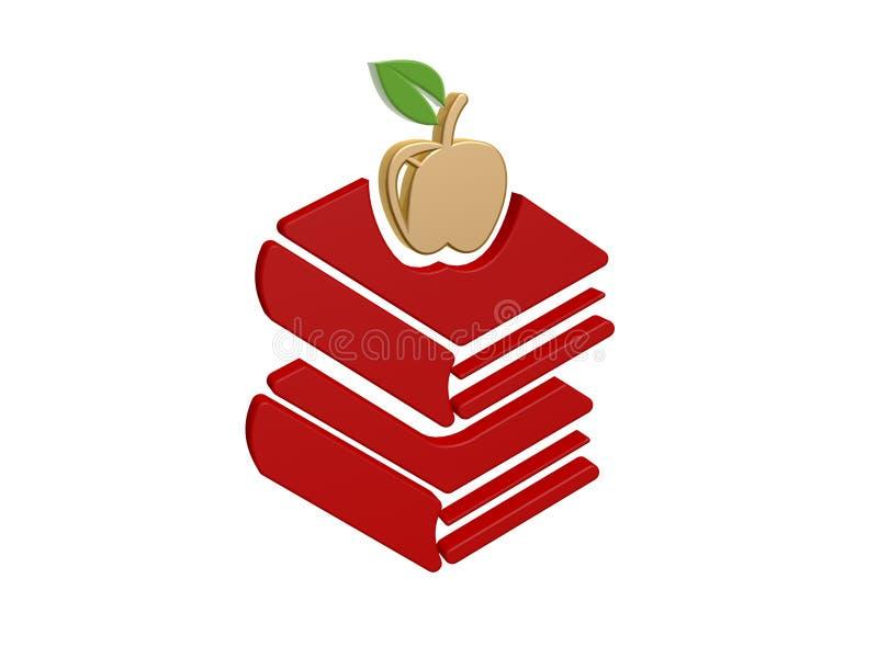 Livros da maçã do ouro ilustração stock