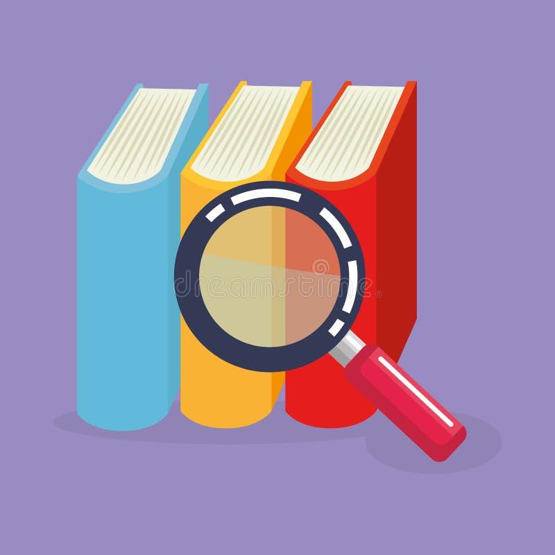 Livros da pilha com lupa ilustração do vetor