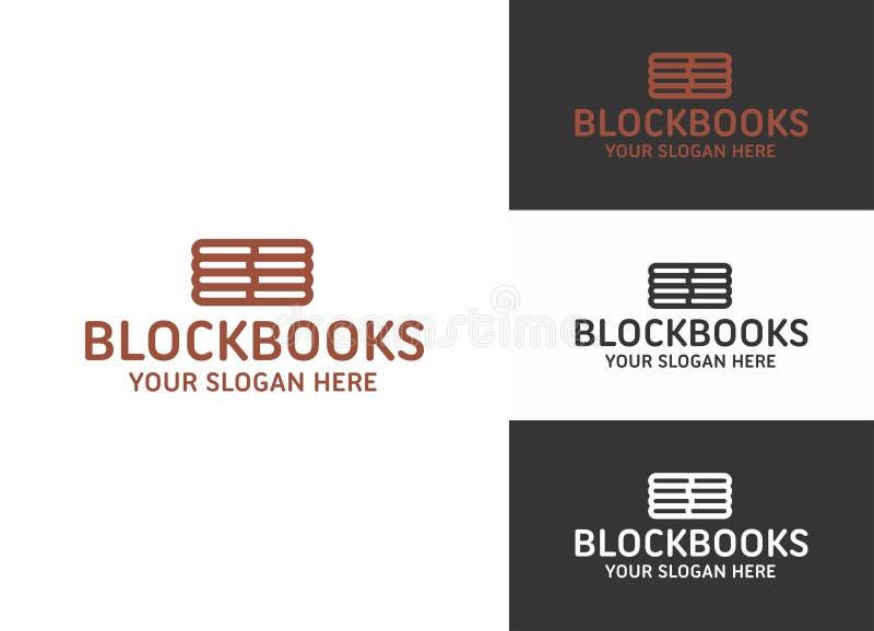 Livros de bloco Logo Template ilustração stock