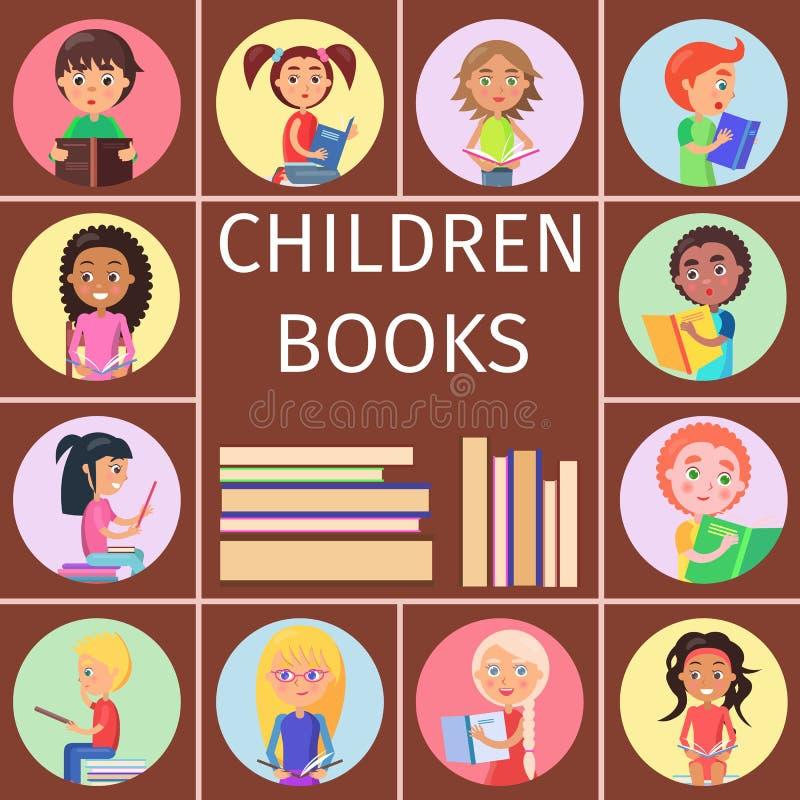 Livros de crianças, pilha das letras para ler crianças ilustração royalty free
