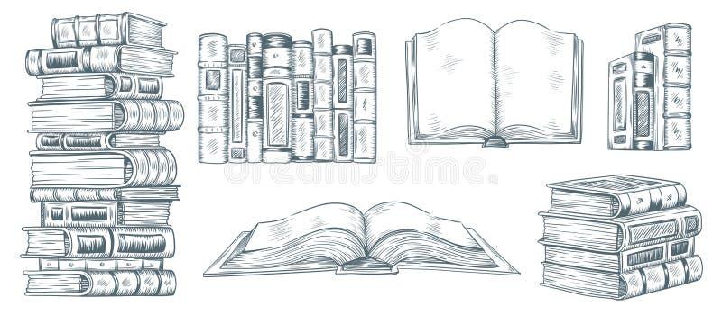 Livros de desenho da mão Esboço tirado da literatura Coleção do vetor da ilustração de livro da escola ou da biblioteca das ilustração do vetor