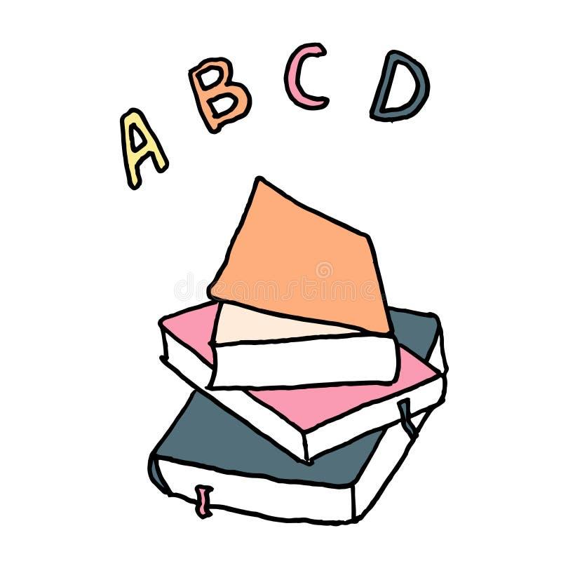 Livros de escola de ABC Esboço com cores diferentes no fundo branco Ilustra??o do vetor ilustração do vetor