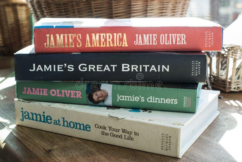 Livros de Jamie Oliver imagem de stock