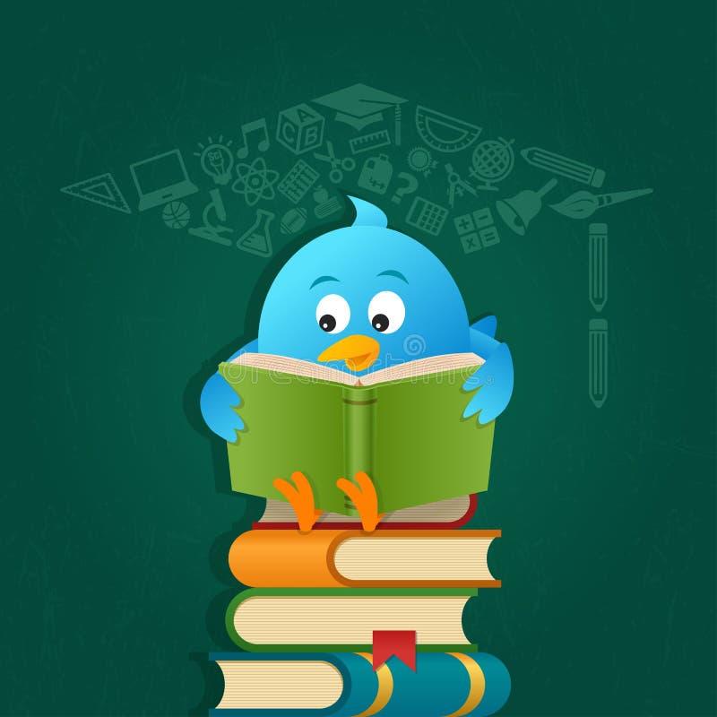 Livros de leitura azuis do pássaro ilustração do vetor