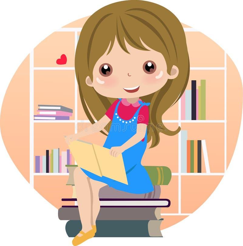 Livros de leitura bonitos da menina na biblioteca ilustração stock