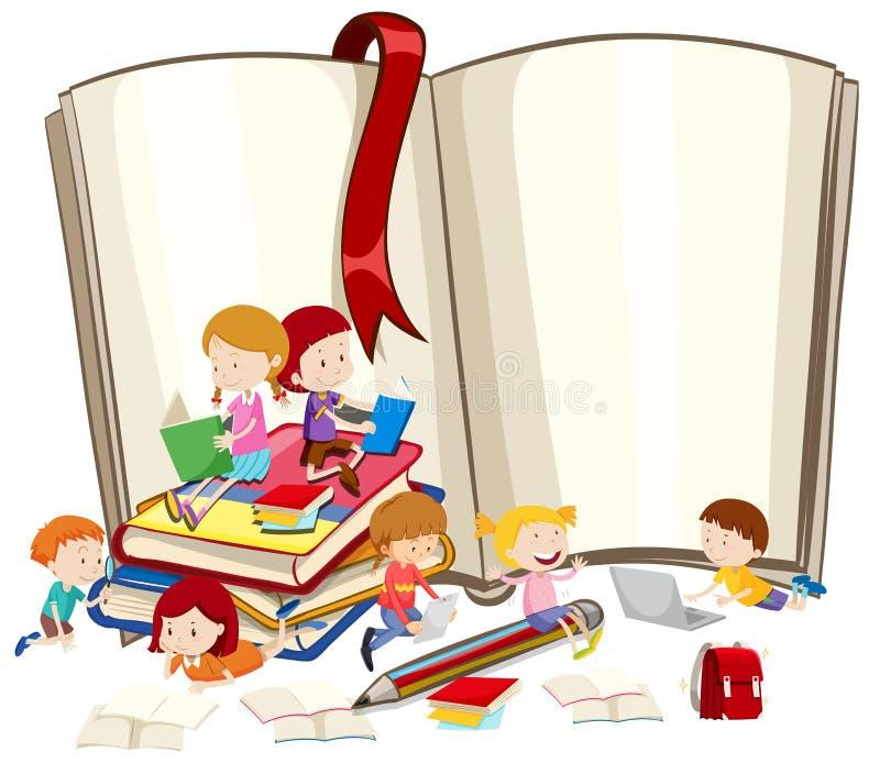 Livros de leitura das crianças junto ilustração royalty free