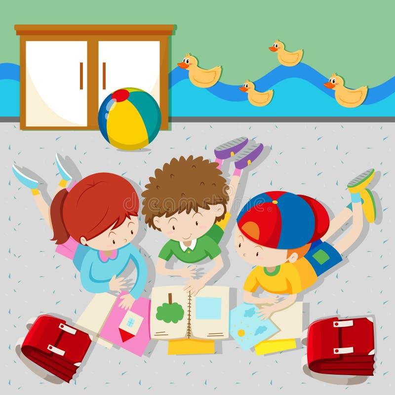 Livros de leitura das crianças na sala de aula ilustração stock