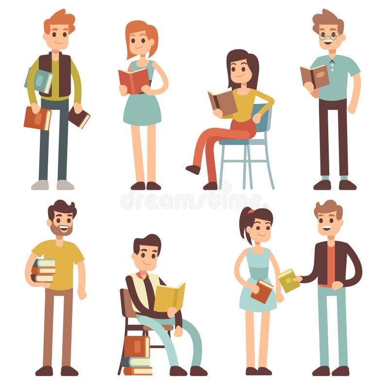 Livros de leitura das mulheres e dos homens Caráteres do vetor dos leitores dos povos ajustados ilustração royalty free
