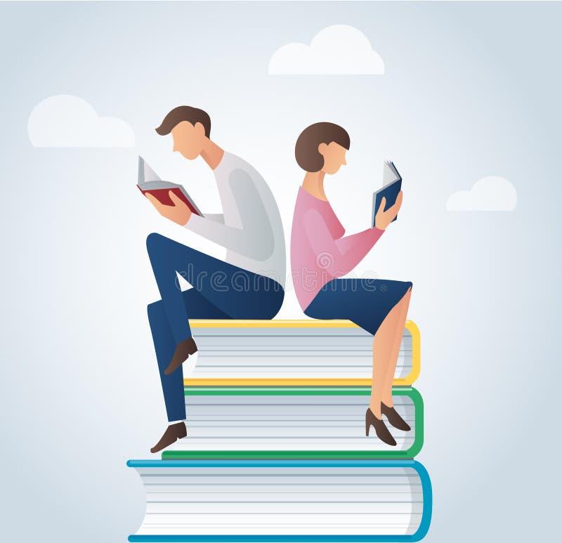 Livros de leitura do homem e da mulher em moedas, vetor do conceito do negócio ilustração do vetor