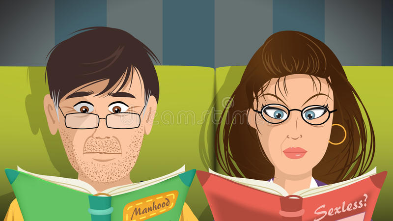 Livros de leitura dos pares ilustração royalty free