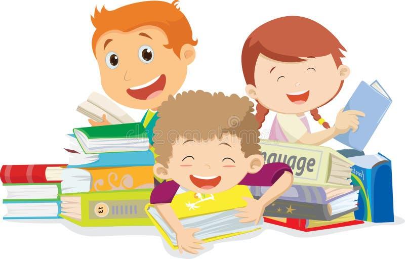 Livros de leitura felizes das crianças Isolado no branco ilustração stock