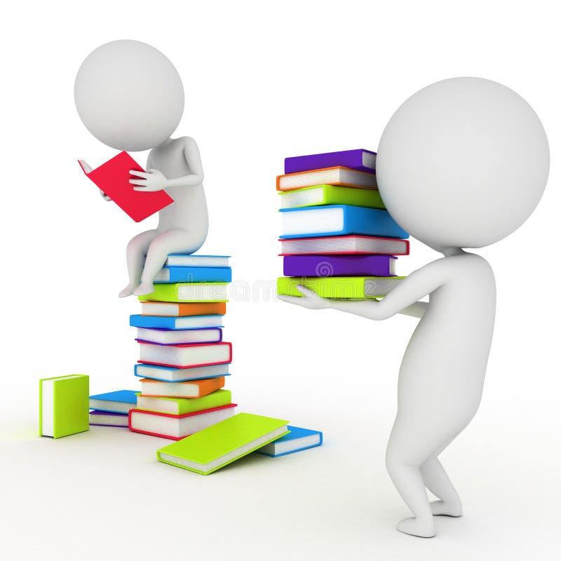 Livros de leitura pequenos do indivíduo ilustração royalty free