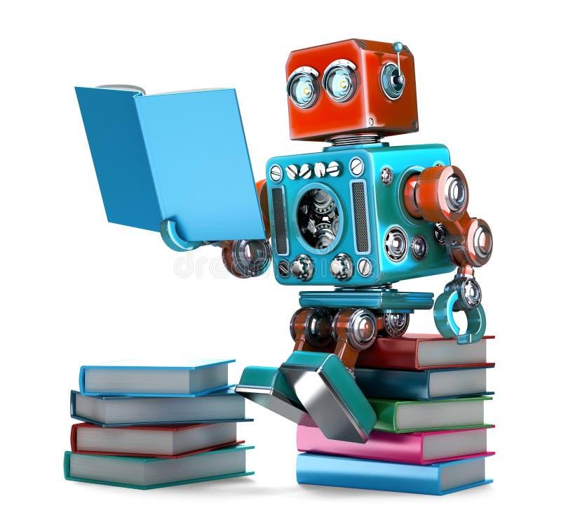 Livros de leitura retros do robô Isolado ilustração 3D contem ilustração stock