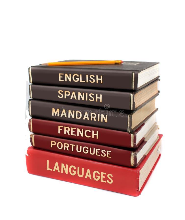 Livros de texto da língua imagens de stock