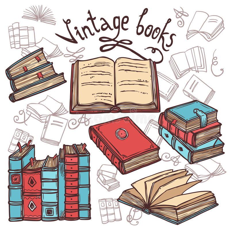 Livros do esboço ajustados ilustração stock