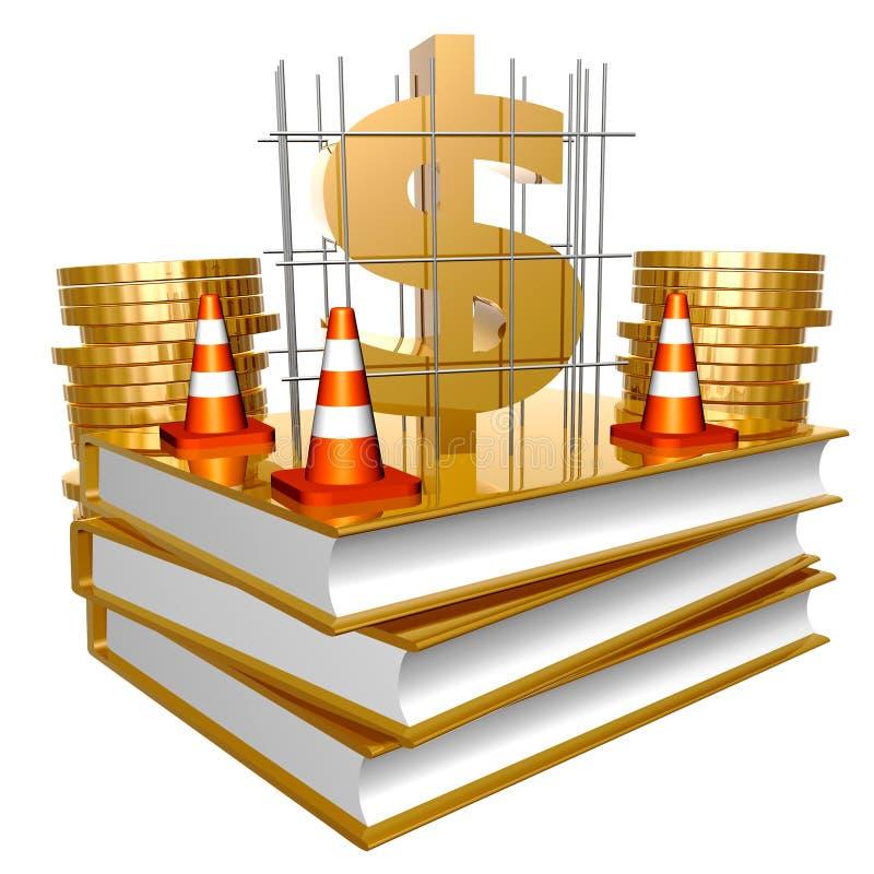 Livros dourados sobre o negócio e o dinheiro da factura ilustração royalty free