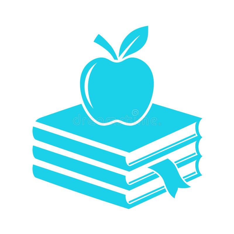 Livros e ícone do vetor da maçã ilustração do vetor