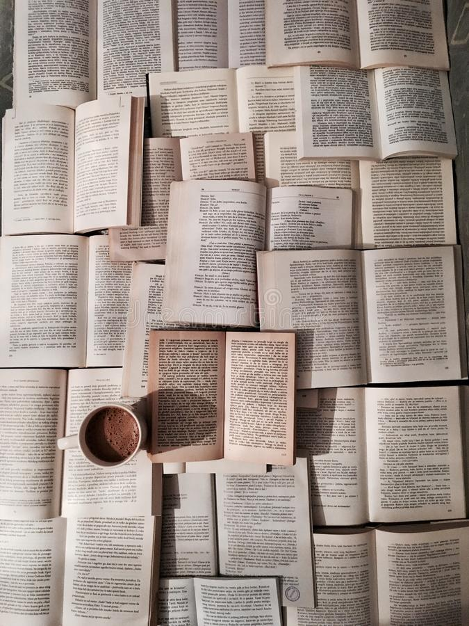 Livros e café imagens de stock