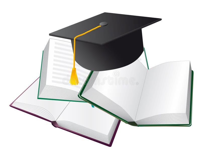 Livros e chapéus ilustração royalty free