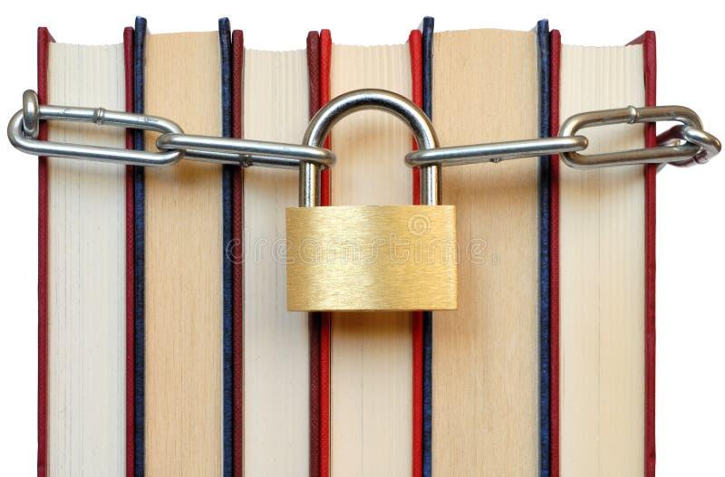 Livros e corrente fotografia de stock