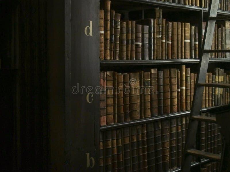 Livros e escada antigos na biblioteca fotografia de stock