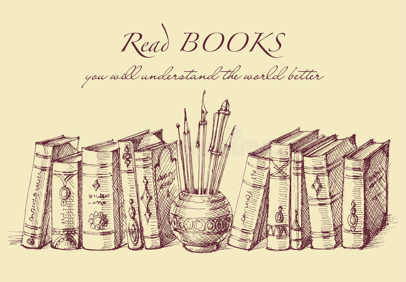 Livros e ferramentas da escrita no estilo do vintage ilustração royalty free