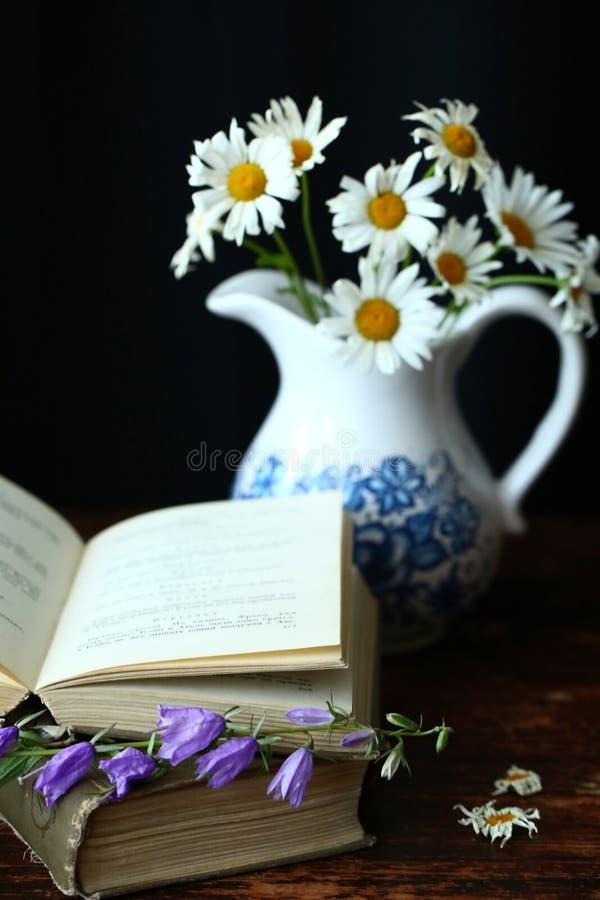 Livros e flores fotografia de stock