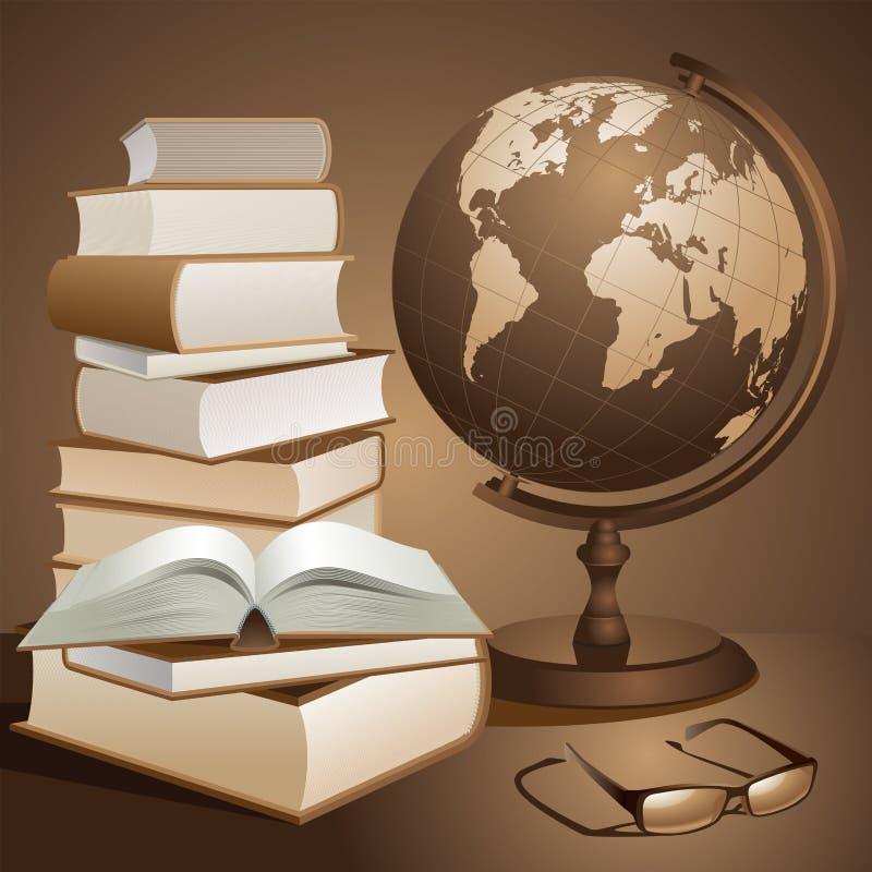 Livros e globo ilustração stock
