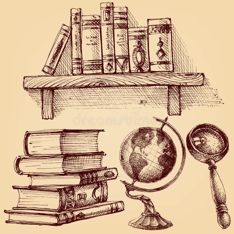 Livros e grupo da educação ilustração stock