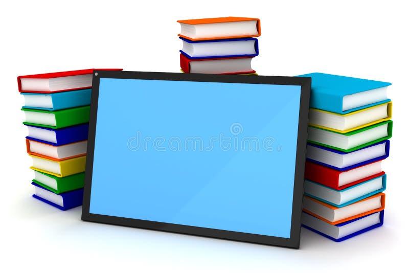 Livros e PC da tabuleta ilustração royalty free