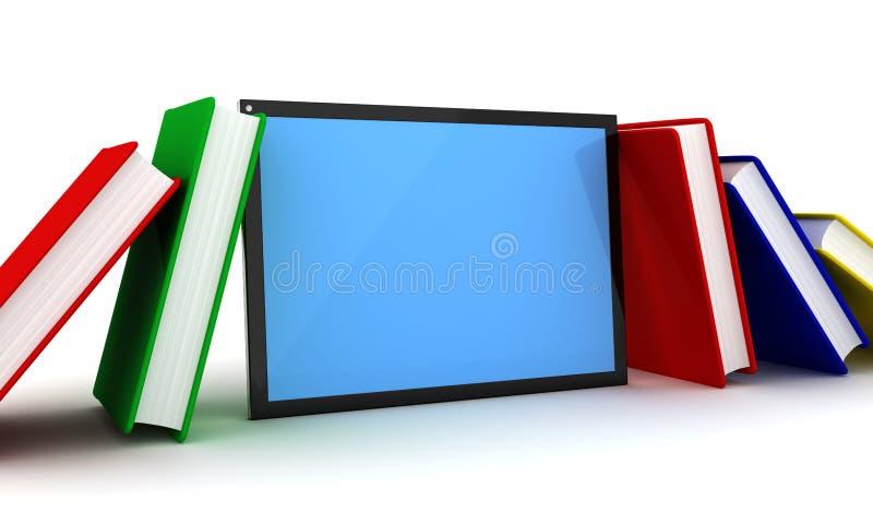 Livros e PC da tabuleta ilustração do vetor