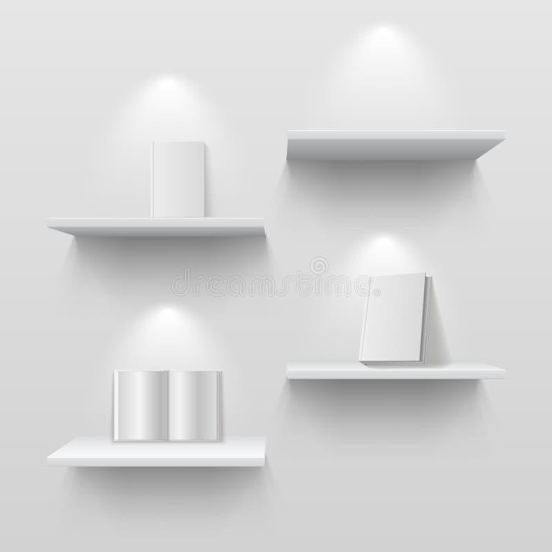 Livros em prateleiras 3d branco vazio isolou a estante na parede da casa Modelo criativo do vetor com sombras ilustração royalty free