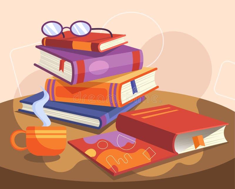 Livros empilhados, cozinhando a xícara de café e os vidros de madeira redonda em uma ilustração colorida dos desenhos animados do ilustração do vetor