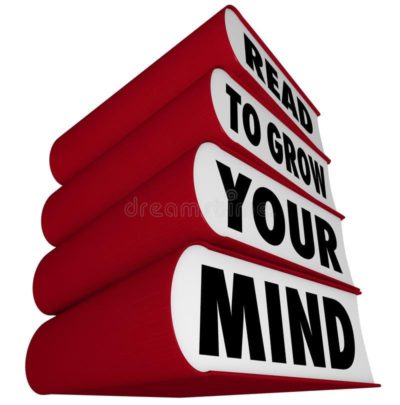 Livros empilhados - lido para crescer sua mente ilustração do vetor