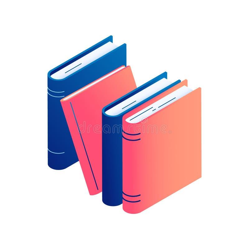 Livros eretos isométricos - ilustração isolada do vetor da pilha de literatura, de dicionário ou de enciclopédia ilustração stock