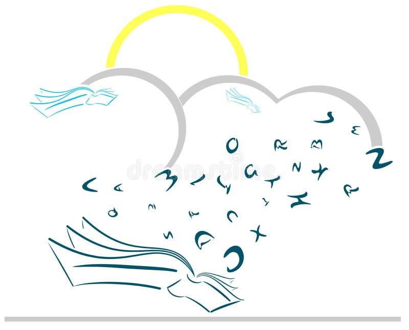 Livros estilizados com as letras da dança isoladas ilustração do vetor