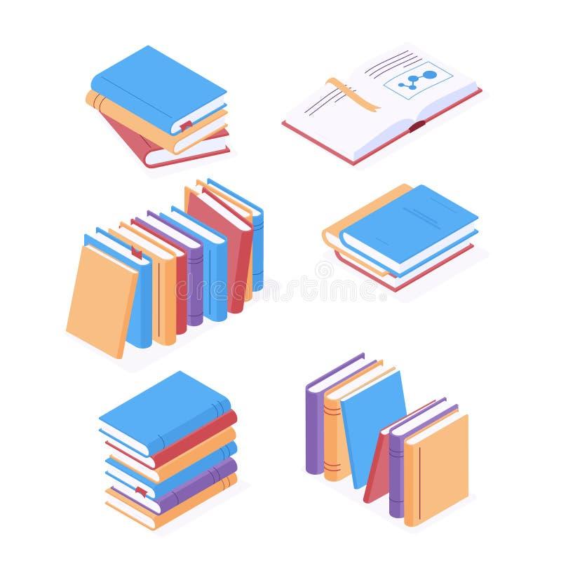 Livros isométricos com capas duras coloridas, isolados sobre fundo branco ilustração stock