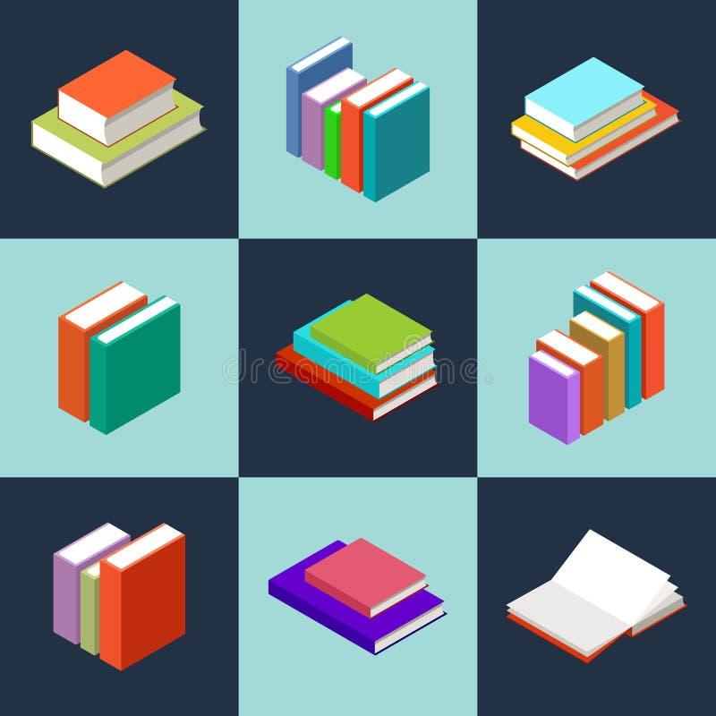 Livros isométricos do vetor ilustração stock