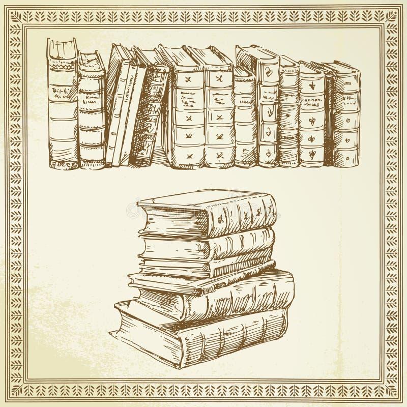 Livros - jogo desenhado mão ilustração royalty free