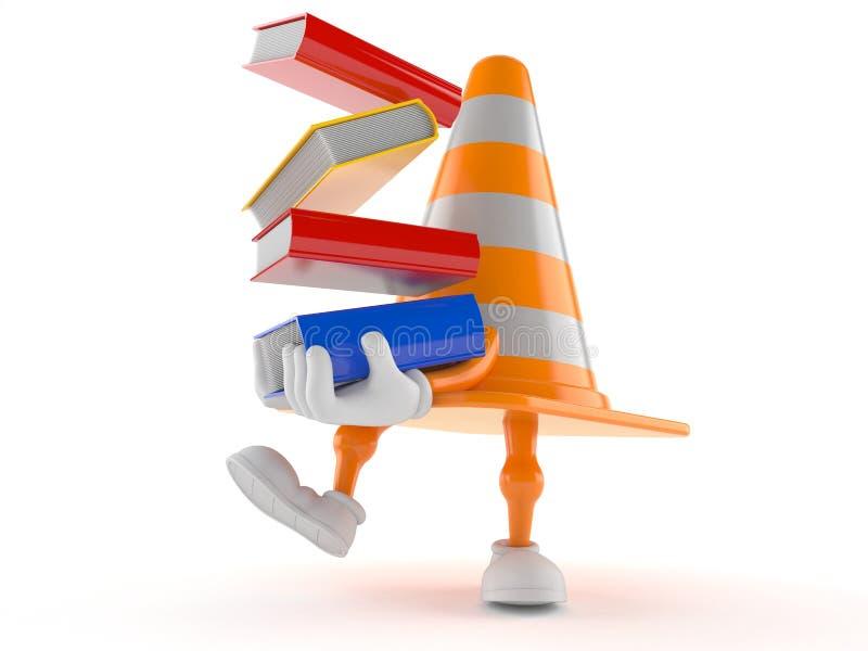 Livros levando do caráter do cone do tráfego ilustração stock