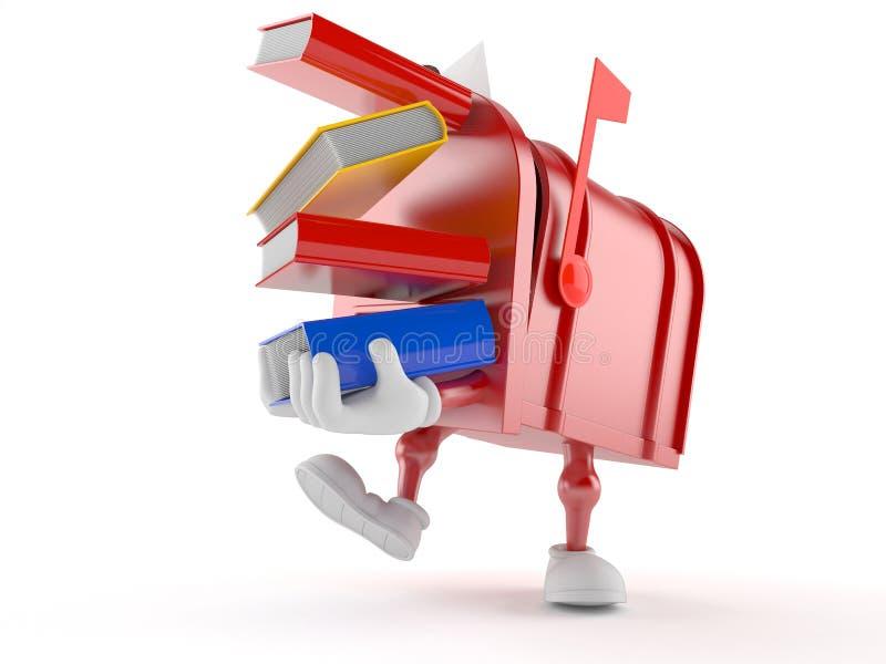 Livros levando do caráter da caixa postal ilustração royalty free