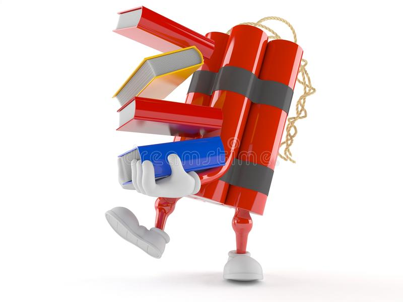 Livros levando do caráter da dinamite ilustração do vetor