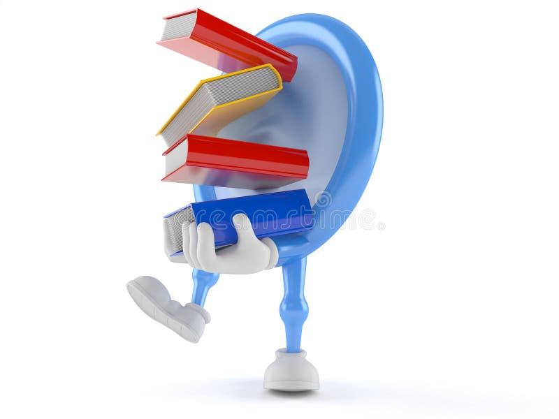Livros levando do caráter do preservativo ilustração royalty free