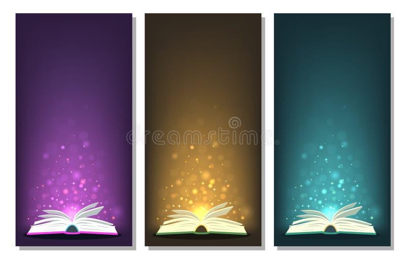 Livros mágicos com luzes mágicas da cor diferente em bandeiras ilustração royalty free