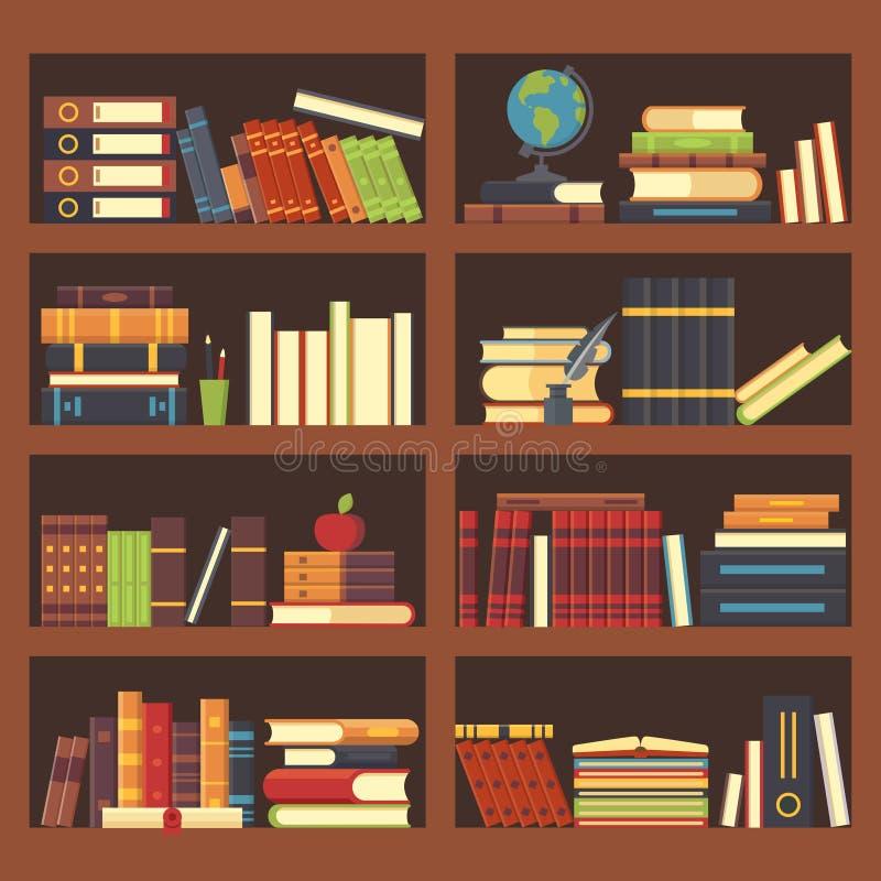 Livros na biblioteca da biblioteca Livro da enciclopédia na estante Empilhe livros de texto e compartimentos no fundo do vetor da ilustração stock