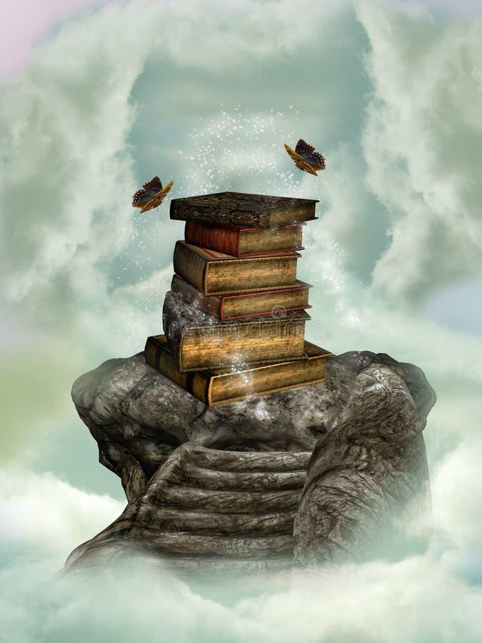 Livros no céu ilustração royalty free