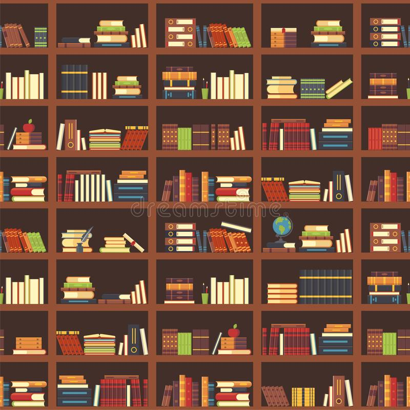 Livros no teste padrão sem emenda da biblioteca Livro de escola, livro de texto da ciência e compartimentos na estante Vetor dos  ilustração do vetor