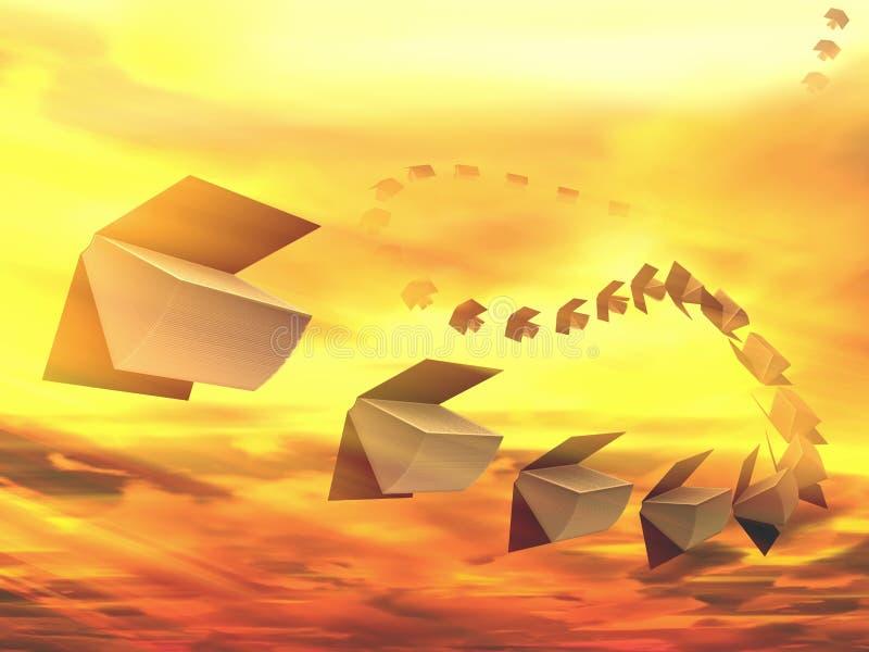 Livros que voam no conceito das nuvens ilustração stock