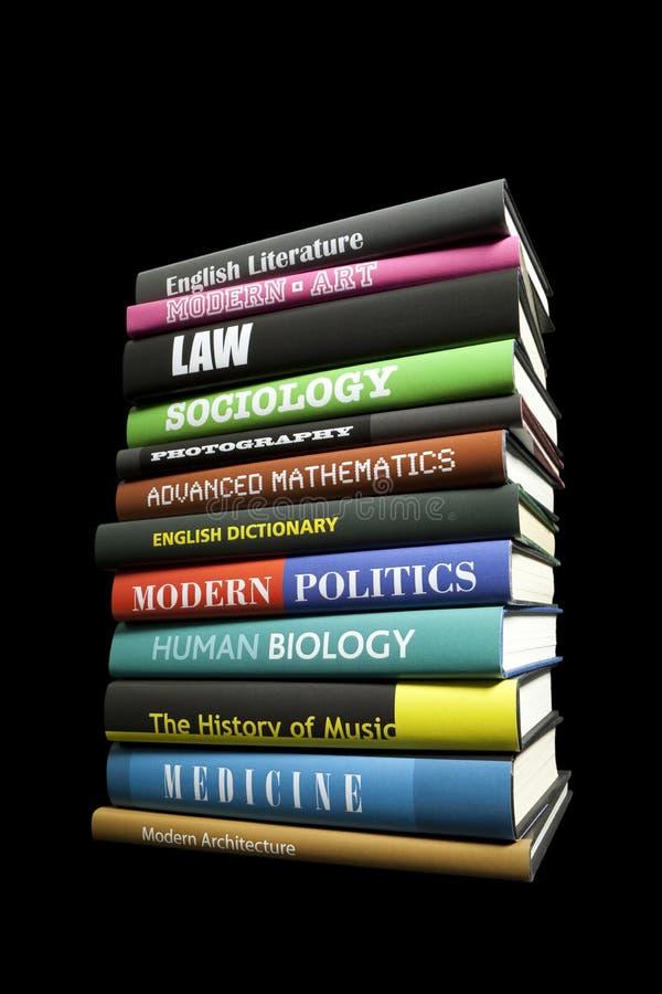 Livros reais no preto fotografia de stock royalty free
